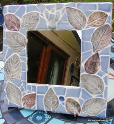 Interesting leaf mosaic project How to Mosaic and make beautiful objects for home and garden: How to Mosaic Using Ceramic Leaf shapes