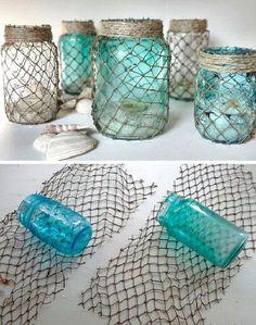 Botellas-decoradas-con-red-DIY-marine-net-bottle