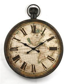 The Iron World Map Clock features an old-world map on the face of this timepiece. This large clock will create a great style or enhance your existing home decor and always keep track of the time for you.