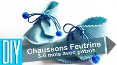 DIY chausson feutrine baby bleu 3 6 mois1