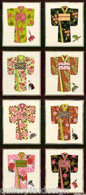 KIMONO - NORTHCOTT FABRIC - #294899 - CUTE JAPANESE KIMONO PANEL, BLACK