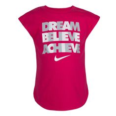 "Girls Nike ""Dream Believe Achieve"" Graphic Tee, Brt Pink Designer Sportswear, Girls 4, Believe, Graphic Tees, Nike, T Shirt, Tops, Athlete, Star"