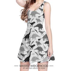 Grey Reversible Sleeveless Party Dress Onepiece with Dinosaur Painting Design…