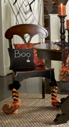 Pier 1 Boo Pillow and Sequin Stripe Table Leg Covers
