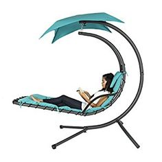 Amazon.com : Best Choice Products Hanging Chaise Lounger Chair Arc Stand Air Porch Swing Hammock Chair Canopy Teal : Patio, Lawn & Garden