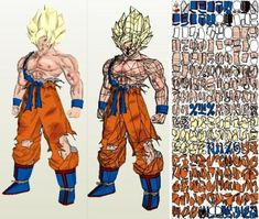 """Dragon Ball Z - Goku SSJ1 Damaged In 1/1 Scale - by Paper Juke       ===       From French designer Paper Juke and from Dragon Ball Z Universe, here is Goku again, but now in Life Size or 1/1 scale. This model is a really """"Big"""" model, measuring 1,80  meters tall and occupying 171 pages! To view and print this model you will nedd Pepakura Viewer Free Version (link at the end of this post)."""
