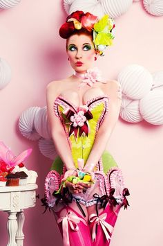 Maya Hansen Cake Corsets collection, shot by Marcelo Aquilio in Madrid. Hair and makeup by Maya Carbajal Alex-Hansen  Model: Ulorin Vex