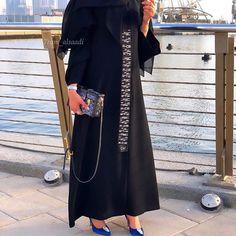 Black is always classic With touch of elegance from Abaya Dubai, Abaya Designs, Abaya Fashion, Abaya Style, Abayas, Shirt Dress, Photo And Video, Elegant, Classic