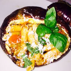 Norma style pasta in an aubergine, a new way to serve this dish
