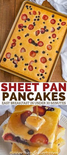 Sheet Pan Pancakes with mixed berries and homemade pancake batter let you make pancakes for a crowd without standing over the oven! #breakfast #brunch #pancakes #holidays #christmas #mothersday #valentinesday #easter #dinnerthendessert