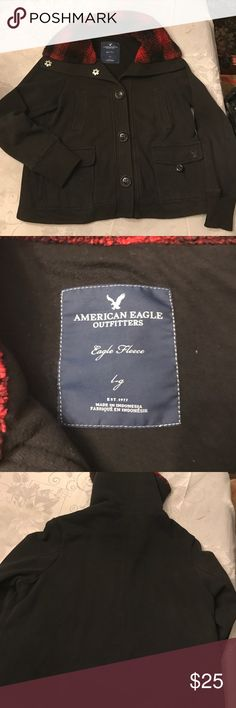 American Eagle Outfitters jacket Black heavy sweatshirt material with buffalo plaid sherpa lining inside neck.  Cute and warm. EUC. American Eagle Outfitters Jackets & Coats