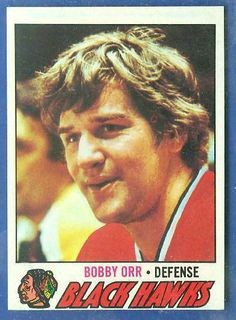 Bobby Orr with the Black Hawks Blackhawks Hockey, Hockey Teams, Chicago Blackhawks, Hockey Players, Ice Hockey, Hockey Cards, Baseball Cards, Bobby Orr, Black Hawk