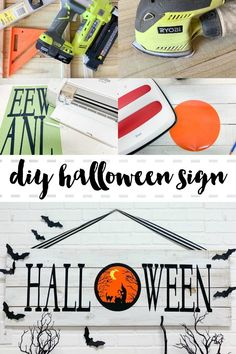 Make this rustic wood Halloween sign in just a few hours for less than $20. Get the DIY on Everyday Party Magazine #Halloween #FarmhouseStyle #DIY