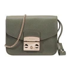 Furla Metropolis Mini Crossbody (435 CAD) ❤ liked on Polyvore featuring bags, handbags, shoulder bags, green, green leather handbag, crossbody handbags, leather purse, green leather purse and mini crossbody