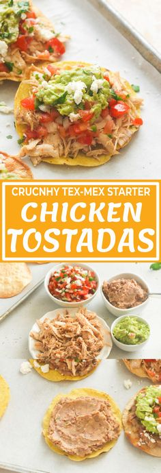 CHICKEN TOSTADAS - Immaculate Bites #recipes #Mexican #chickenrecipes #shredded #easyrecipes #appetizers #partyfood #dinner Mexican Dishes, Mexican Food Recipes, Ethnic Recipes, Drink Recipes, Best Dishes, Main Dishes, Tostada Recipes, Great Recipes, Favorite Recipes