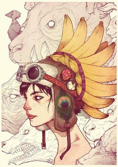 Beautiful Portraits by Ario Anindito | InspireFirst. I like the linework and watercolor-like fill.
