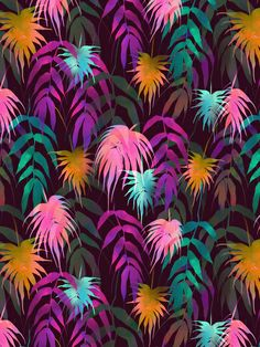 New Palm Beach - Fall Art Print  By schatziBrown #tropical #pattern #watercolor #palm #leaf