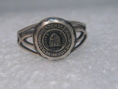Vintage Sterling Silver Seal of Class Ring Kiskiminetas Springs School , sz.  7