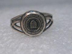 Vintage Sterling Silver Seal of Class Ring Kiskiminetas Springs School , sz.  7