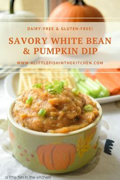 This savory white bean and pumpkin dip is flavorful and pretty healthy too. It's gluten-free, dairy-free and full of vitamins, minerals and antioxidants that are naturally in its star ingredients! A wonderful seasonal addition to an appetizer table, but it's a delish treat all year long! #pumpkinweek #savorypumpkinrecipes #pumpkinrecipes #whitebeandip #pumpkinandwhitebeandip #appetizers #dairyfreerecipes #dairyfreeholidayrecipes #glutenfree #glutenfreeholidayrecipes