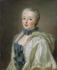 1753 Françoise Marguerite de Sévigné, Countess de Grignan by Alexander Roslin.  Beautiful bows en echelle (ladder) on the stomacher & coordinating choker.