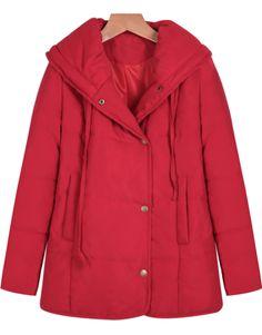 Red Long Sleeve Pockets Loose Coat US$26.00