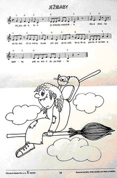 ježibaby Song Sheet, Halloween, Kids Songs, Classroom, Cartoon, Children, Witches, Greek Chorus, Sheet Music