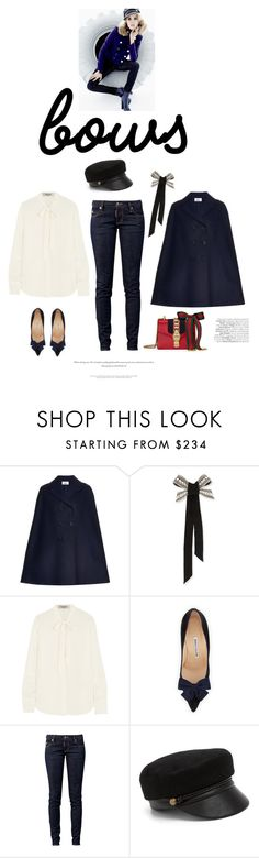 """""""In the navy"""" by iriadna ❤ liked on Polyvore featuring Valentino, Lanvin, Manolo Blahnik, Dsquared2, Eugenia Kim, Gucci, Blue, bows, nauticalstyle and cape"""