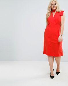 Wrap Front Pencil Midi Dress - Red Asos Curve UY39pcbs