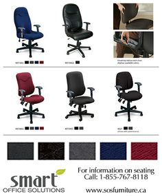 SMART OFFICE SOLUTIONS carries a huge variety of Mayline Office Seating and Multi-Task Chairs in 4 different fabric colors! (leather only in black) CALL US TODAY FOR A FREE CONSULTATION AT 1-855-767-8118 www.sosfurniture.ca Smart Office, Office Seating, Different Fabrics, Office Furniture, Chairs, Leather, Free, Color, Black