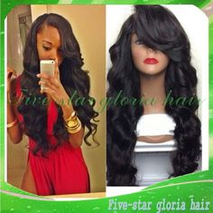 Find More Wigs Information about Side Part With Bangs Long Black Body Wave Unprocessed Brazilian Human Glueless Full Lace Wigs With Baby Hair For Black Women,High Quality Wigs from Five-star Gloria hair products Co.,LTD on Aliexpress.com