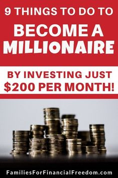 Learn 9 simple steps to save money and invest money for how to become a millionaire! Learn how to ma Earn More Money, Ways To Save Money, Money Tips, Money Saving Tips, Saving Ideas, Investing For Retirement, Investing Money, Retirement Planning, Early Retirement