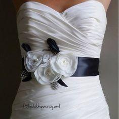 Adorable Black and Ivory Flower and Feather Bridal Sash    #bridalbelts #weddingsash #weddingsashes #bridalsashes #weddinggownsash #bridalgownsash