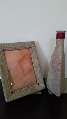 Vase 10 1/2 Inches Frame 5x7 Inches Red Sandstone Set Glass Vase Wooden Frame Swarovski Crystals Red Twine by Uniquelymade1431 on Etsy