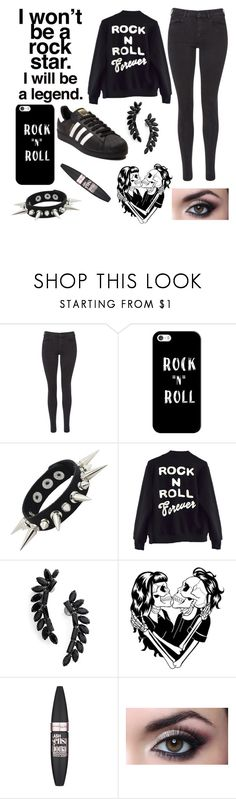 """""""Rock style"""" by alexzoefred ❤ liked on Polyvore featuring Maison Scotch, Casetify, High Heels Suicide, Cristabelle, Deandri, Maybelline and adidas"""