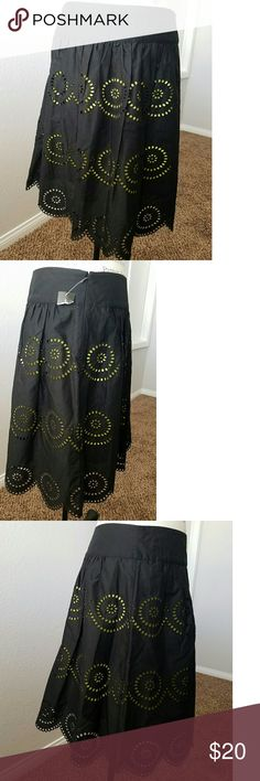 INC skirt 100% cotton. It's black with a highlighter yellow lining underneath. Very intricate detail with scallop shaped bottom edge. It still has some of its tags and it has never been worn. INC International Concepts Skirts A-Line or Full