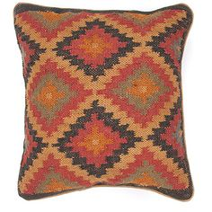The Bedouin collection of pillows is hand woven from wool and jute. Patterns are inspired by traditional kilim patterns which have been recolored and updated. The look is rustic and authentic and designed to be mixed and matched with the coordinating range of poufs and rugs.