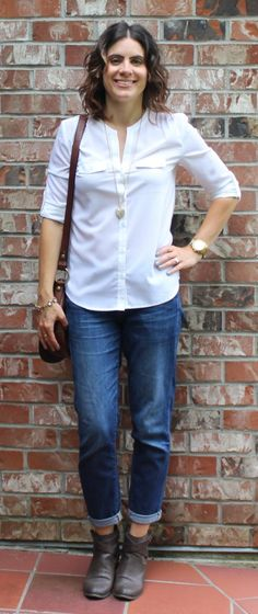 Favourite Fall Outfit and Tres-Chic Fashion Thursday Link Up White Blouses, Boyfriend Jeans, Michael Kors Watch, Lemonade, Vodka, Thursday, Fall Outfits, Denim, Chic