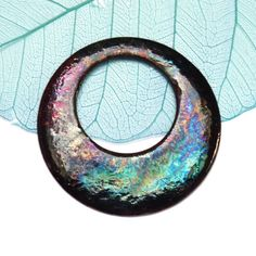 Enamel copper pendant, jewelry making supplies, Artisan jewellery components, unique pendants, iridescent necklace focal, enamelled pendant by KilnFiredArt on Etsy