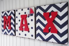 Nursery Letters, Nursery Decor, Upholstered Letters, Personalized, Nursery Art, Navy and White Chevron, Red Letters, Embellishment. $20.99, via Etsy.