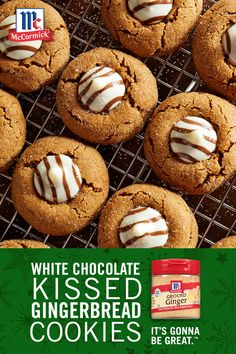Typically made with peanut butter cookies, switch up the classic holiday dessert recipe with gingerbread cookies and white chocolate kiss-shaped candy! Ground ginger, cinnamon and nutmeg add Christmas flavor to every bite. It's Gonna Be Great. Galletas Cookies, Cake Mix Cookies, Yummy Cookies, Holiday Cookies, Holiday Baking, Christmas Desserts, Cookies Soft, Cupcakes, Candy Recipes
