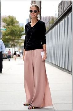 Black sweater with Blush wide leg pants