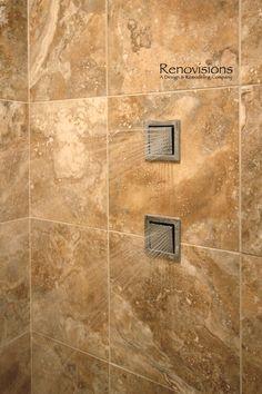 Master bathroom remodel by Renovisions. Tile shower, walk-in shower, body jets, body sprays...