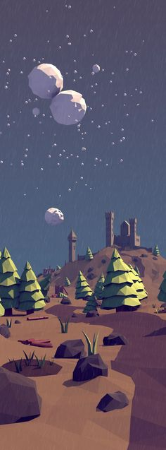 Low Poly Forest Landscape by Tim Smits on Behance — Illustrations — Pixodium Landscape Illustration, Illustration Art, Art Illustrations, Game Design, Web Design, Design Art, Doodle Drawing, Drawing Faces, Drawing Tips
