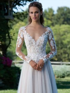 Soft Tulle & long sleeve Lace sheath wedding dress, gorgeous Sincerity dress 2018
