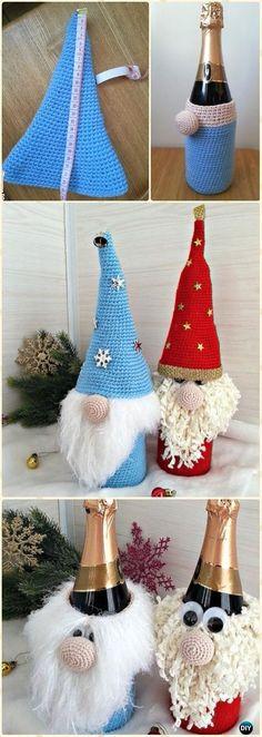 Crochet Gnome Wine Bottle Cozy Free Pattern - Crochet Wine Bottle Cozy Bag Free Patterns