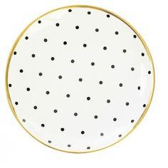 Assiette porcelaine pois noirs filet or