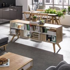 Vox Nature Two Sided Low Shelving Unit in White & Oak Effect. This would be great as a room divider in a studio flat or apartment Casual Living Rooms, Classic Living Room, Transitional Living Rooms, Low Bookshelves, Low Shelves, Bookcase, Living Room Seating, Living Room Furniture, Dining Room