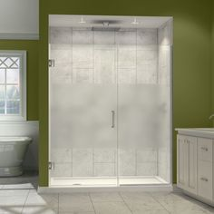 The Unidoor Plus Shower Door is available in an incredible range of sizes and creates an open and airy appeal with a frameless design and minimal hardware. The premium glass has a fingerprint-free frosted band which adds an element of design and privacy.