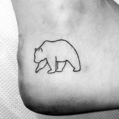 Cool Male Bear Ankle Outline Tattoo Designs